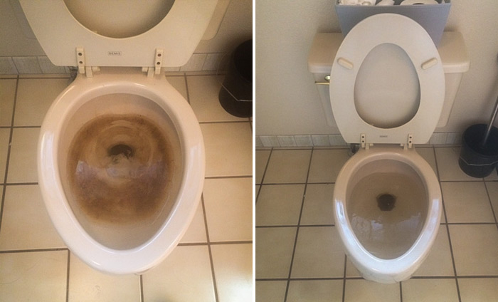 before and after toilet