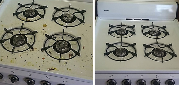 before and after stove
